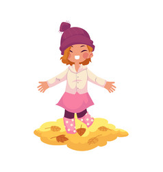 girl throws autumn leaves up isolated vector image vector image
