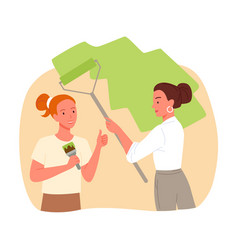 Girls workers painting wall repair service young vector