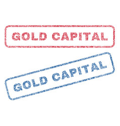 Gold capital textile stamps vector