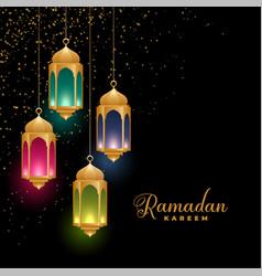Golden colorful islamic lanterns ramadan kareem vector