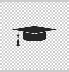 Graduation cap icon on transparent background vector