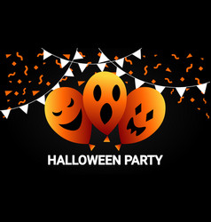 halloween party with spooky balloon celebration vector image