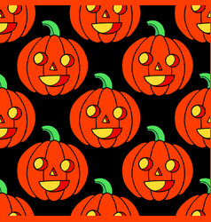 halloween seamless pattern with pumpkin scary vector image