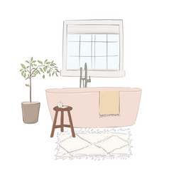 Hand-drawn bathroom with bath carpet books chair vector