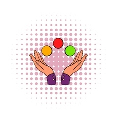 Hands juggling balls comics icon vector