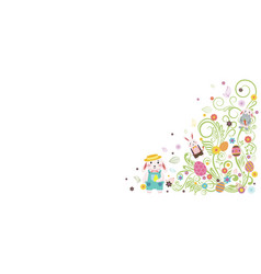 happy easter bunny white background vector image