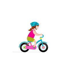 Happy girl riding small bicycle vector