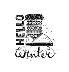 Hello winter lettering text Brush and boots vector image