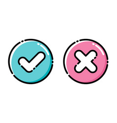 icons green tick and red cross checkmarks vector image