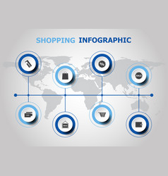 infographic design with shopping icons vector image