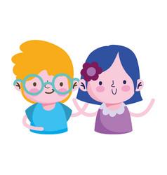 Isolated girl and boy cartoon design vector