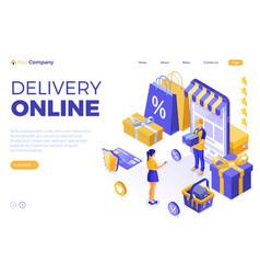 isometric online internet shopping vector image