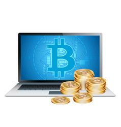 laptop and golden bitcoins vector image