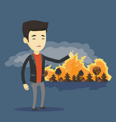 man standing on the background of wildfire vector image