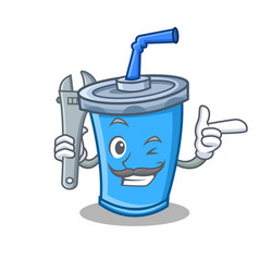Mechanic soda drink character cartoon vector