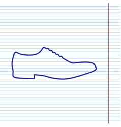 men shoes sign navy line icon on notebook vector image