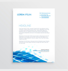 Modern letterhead template design with blue vector