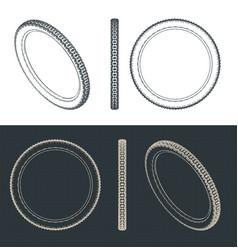 mountain bike tire blueprints vector image
