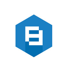 Number 8 icon blue hexagon flat icon vector