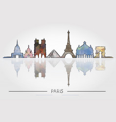 paris skyline detailed silhouette vector image