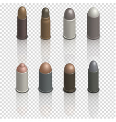 Photorealistic cartridges with a bullet isometric vector