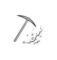 pickaxe chisel hand drawn outline doodle icon vector image