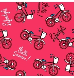 Pink pattern with retro bicycles vector
