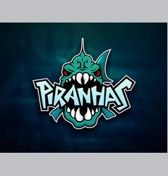 piranhas emblem logo for sports team vector image