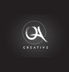 qa brush letter logo design artistic handwritten vector image