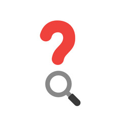 red question mark with magnifier on white with vector image