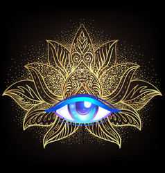 Sacred geometry symbol with all seeing eye over in vector