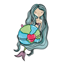 Scribbled beauty siren and global planet with vector
