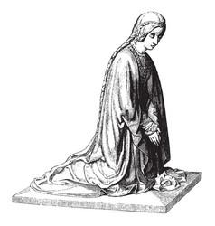 Sculpture was shows a kneeling figure vintage vector