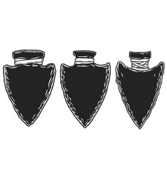 set ancient stone arrowheads design element vector image