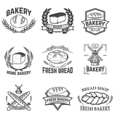 set bakery labels bread shop fresh bread vector image