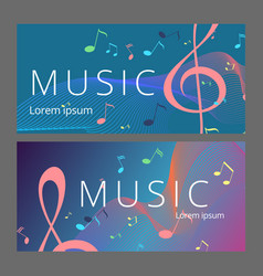 set of abstract banners with colored music key and vector image