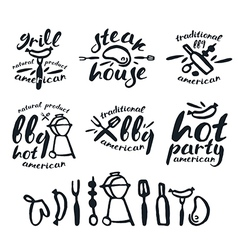 Set of barbecue labels badges and design elements vector