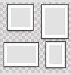 set of black photo frames vector image