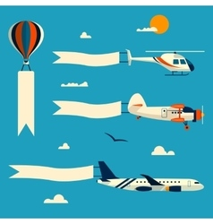 Set of flying balloon helicopter airplane vector