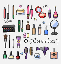 set of hand drawn women accessories cosmetics vector image