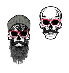 Set of hipster skulls in hat and sunglases vector