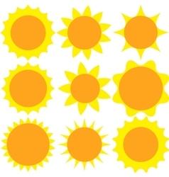 Set sun flat design vector image