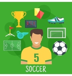 Soccer or football game sporting icon flat style vector image