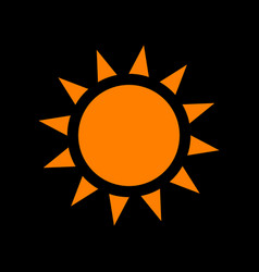 sun sign orange icon on black vector image