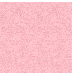 Thin Line Valentines Day Pink Seamless Pattern vector image