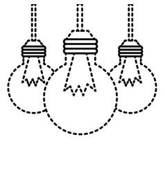 three bulb light hanging energy icons vector image