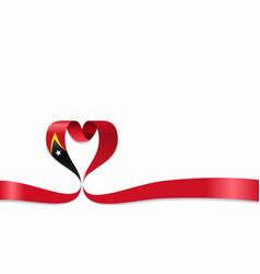 timor-leste flag heart-shaped ribbon vector image