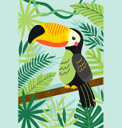 Toucan on branch among tropical plants vector