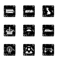 Tourism in United Kingdom icons set grunge style vector