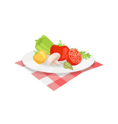 Vegetable plate isolated icon cartoon style vector
